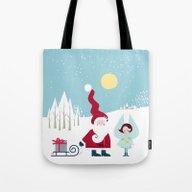 Santa And The Little Ang… Tote Bag