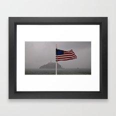Trapped against the flag Framed Art Print