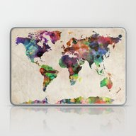 Laptop & iPad Skin featuring World Map Urban Watercol… by ArtPause