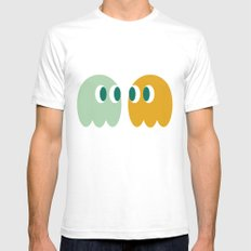 Retro Ghost Pattern Mens Fitted Tee White SMALL