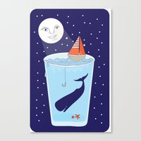Full Waterglass Moon - Night Fishing Canvas Print