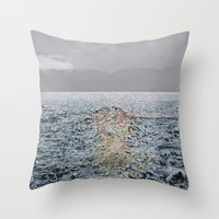 Swimming under the rain Throw Pillow