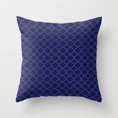 Blue Graphic Flower Throw Pillow