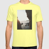 Shell Beach View Mens Fitted Tee Lemon SMALL