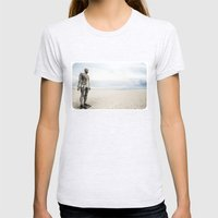 Crosby Beach Man  Womens Fitted Tee Ash Grey SMALL