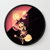 flower on pink,purple and black Wall Clock