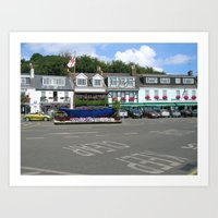 Shops in Town Art Print