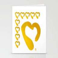 Gold Hearts On White - L… Stationery Cards