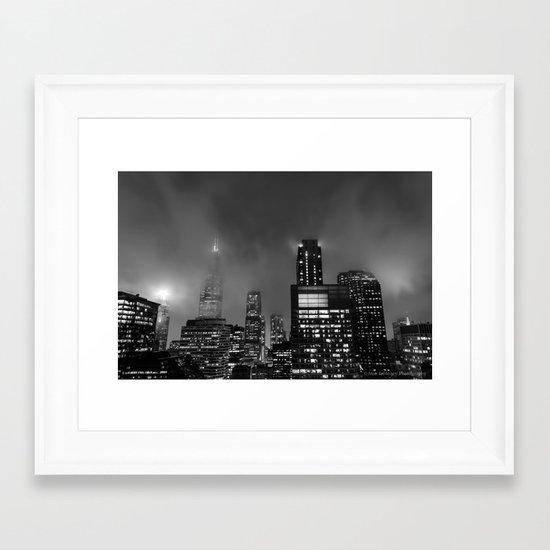 Foggy Chicago Night Framed Art Print