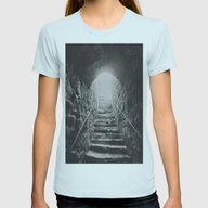 Almost There: Stepping I… Womens Fitted Tee Light Blue SMALL