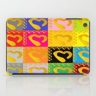 Gold Hearts On Colorful … iPad Case