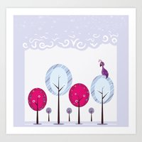 Pastel Dream Trees Art Print