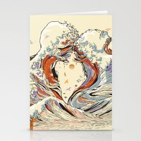 waves Stationery Cards featuring The Wave of Love by Huebucket