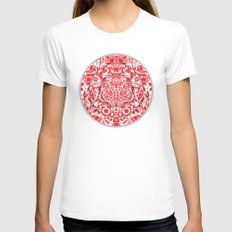Illusionary Daisy (Red) Womens Fitted Tee White SMALL