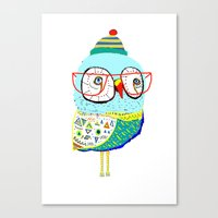 Bobble Hat Owl. Canvas Print