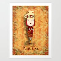 Red Tea Girl Art Print