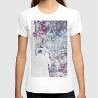 San Diego Map Womens Fitted Tee White SMALL