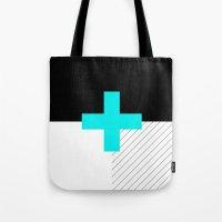 Neon Cross (Blue) // Neo… Tote Bag