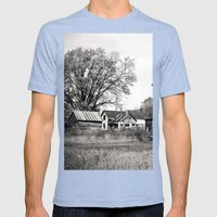 Rustic Rural Mens Fitted Tee Tri-Blue SMALL