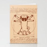 Vitruvian pug Stationery Cards