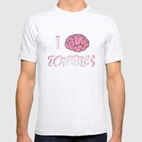 I Brain (Love) Zombies Mens Fitted Tee Ash Grey SMALL