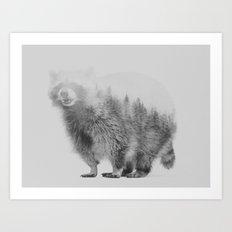 Raccoon (black & white version) Art Print