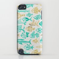 iPod Touch Cases featuring Inked Fish – Turquoise & Gold by Cat Coquillette