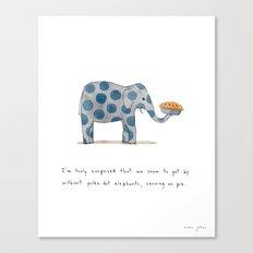 polka dot elephants serving us pie Canvas Print