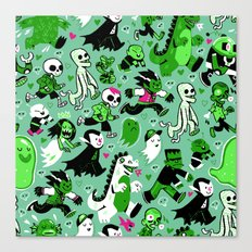 Monster March (Green) Canvas Print