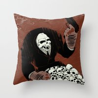 Monkey Skull Suit Throw Pillow