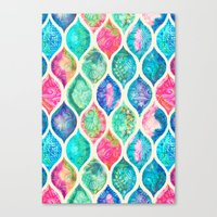 Watercolor Ogee Patchwork Pattern Canvas Print