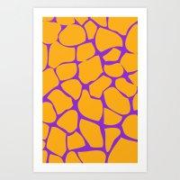 Neon Giraffe Art Print