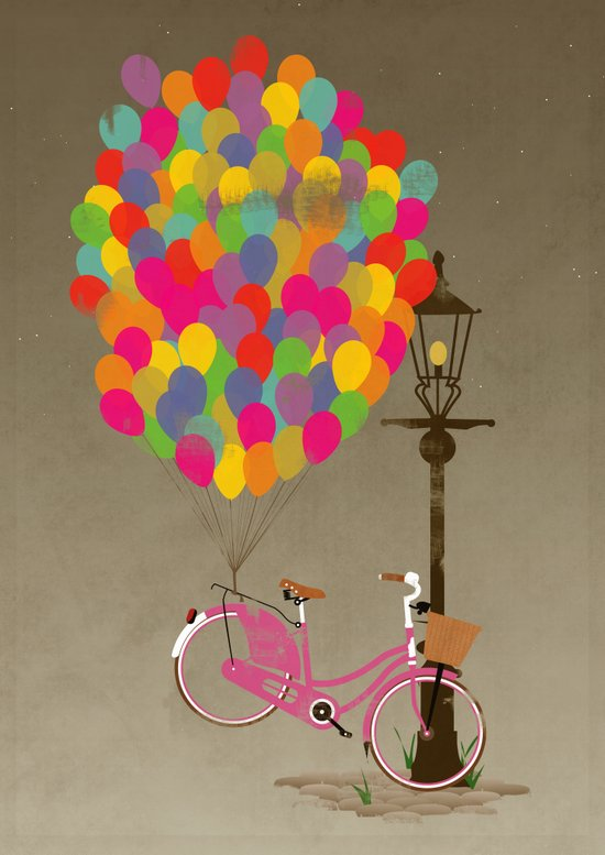Love to Ride my Bike with Balloons even if it's not practical. Canvas Print