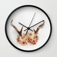 Floral Antlers I Wall Clock