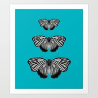 Butterflies On Teal Art Print