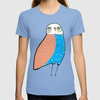 The Owl. Womens Fitted Tee Tri-Blue SMALL