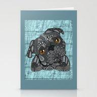 Cute Black Pug Stationery Cards