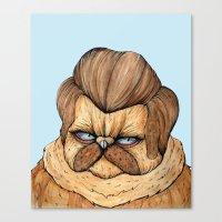 Ron Swanson Cat Canvas Print