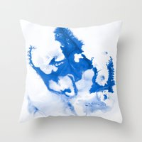Paint 3 abstract modern art wall art for college dorm school trendy painting brushstrokes water wave Throw Pillow