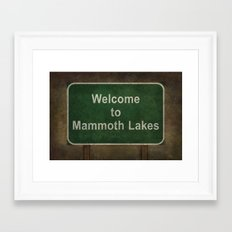 Welcome to Mammoth Lakes road sign illustration Framed Art Print