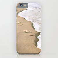 iPhone & iPod Case featuring Footprints on the Beach by goguen