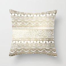 Modern faux gold foil aztec leopard pattern Throw Pillow