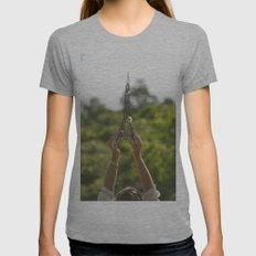 The World On My Shoulders Womens Fitted Tee Athletic Grey SMALL