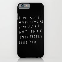 iPhone & iPod Case featuring I AM NOT ANTI-SOCIAL by WASTED RITA