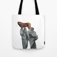 plato n aristotle walking their doge Tote Bag