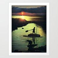 Golden Beacon Of The Set… Art Print