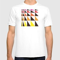 Red Yellow Triangle Pattern Mens Fitted Tee White SMALL