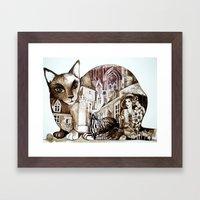 sepia cat Framed Art Print