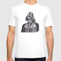 Darth Vader [Grayscale on White] Pencil White SMALL Mens Fitted Tee