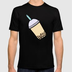 Bubble Tea Pattern in Red Mens Fitted Tee Black SMALL